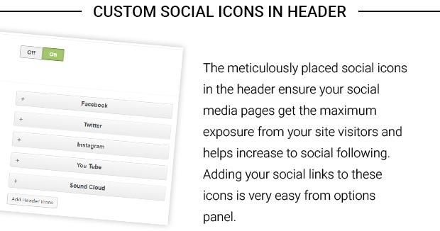 Custom Social Icons in Header