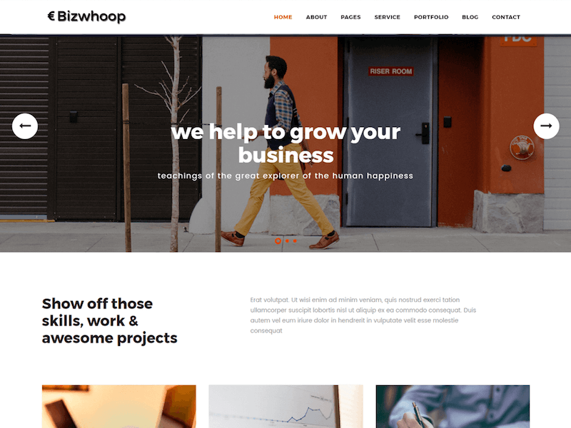 Top 10 free wordpress themes for startup business june 2017 geethemes the original version of bizwhoop is actually a material design based html template which was later converted into a wordpress theme this business theme wajeb Gallery