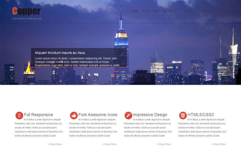 Copper Free Portfolio WordPress Theme
