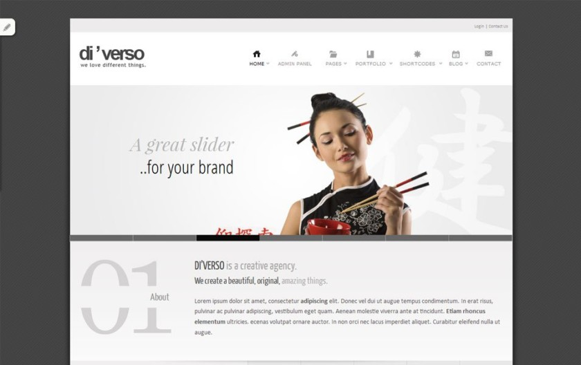 Di'verso Free Portfolio WordPress Theme