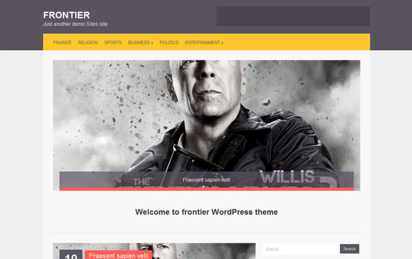 Frontier Free Portfolio WordPress Theme
