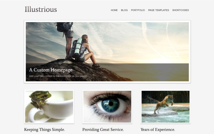 Illustrious Free Portfolio WordPress Theme