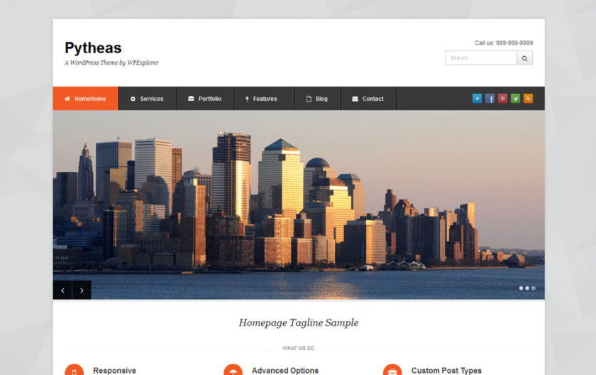 Pytheas Free Portfolio WordPress Theme