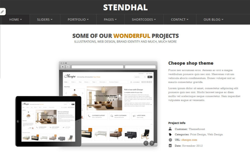 Stendhal Free Portfolio WordPress Theme