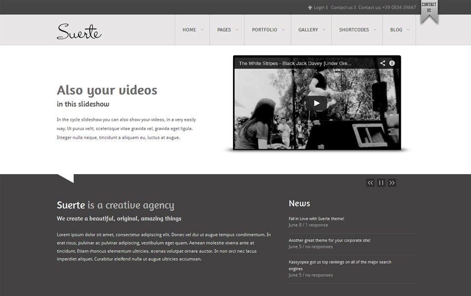 Suerte Free Portfolio WordPress Theme