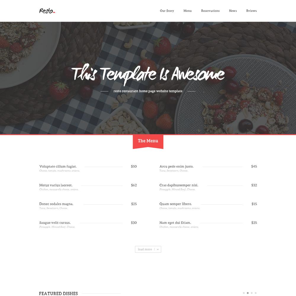 Resto Restaurant Free PSD Template