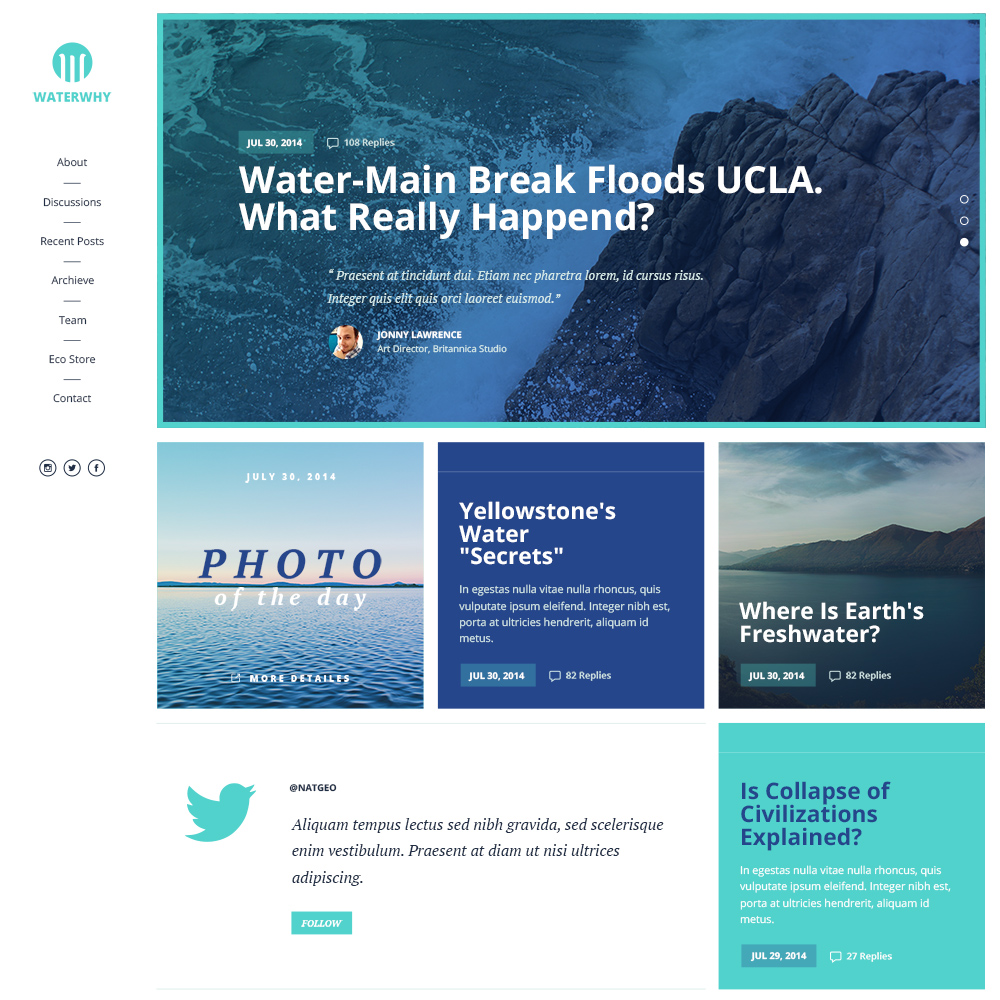 Waterwhy Free PSD Website Template