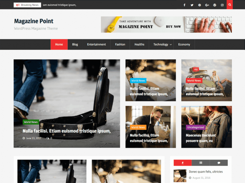 Magazine Point minimalist wp theme