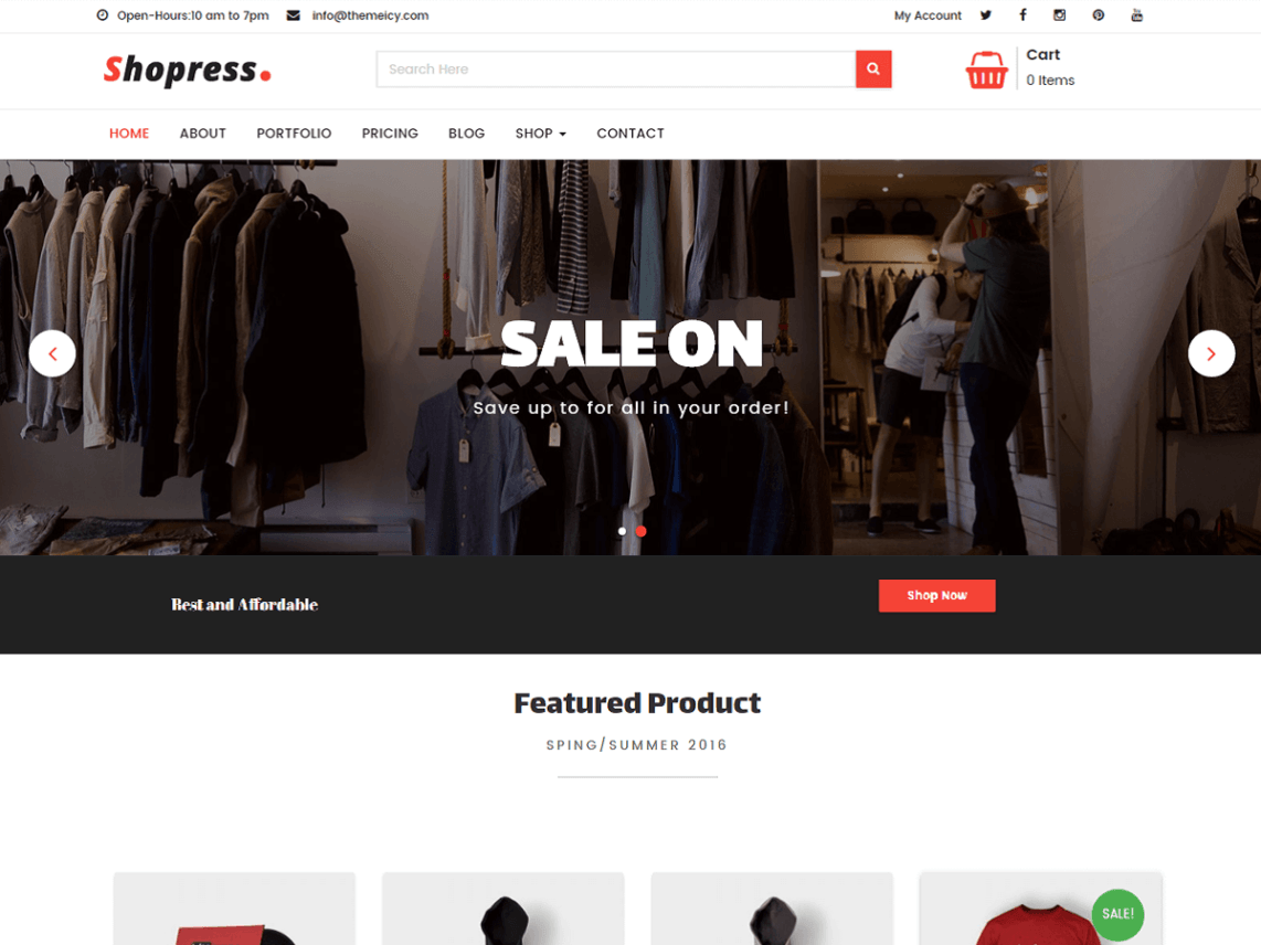 Shopress Free Online Shop Wp Theme