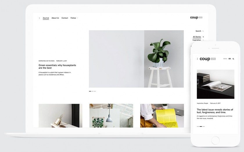 Couplite free minimalist blog portfolio wordpress theme for Big cartel themes templates free