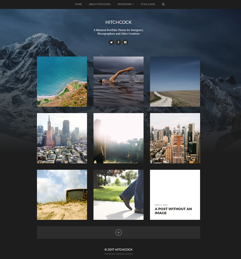 Hitchcock - Free simple, grid portfolio Wordpress theme for ...