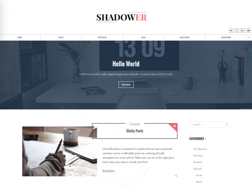 Shadower Free Blogging Theme