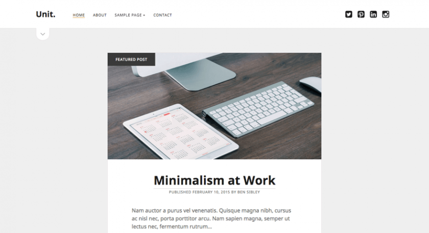minimalist one column wordpress theme