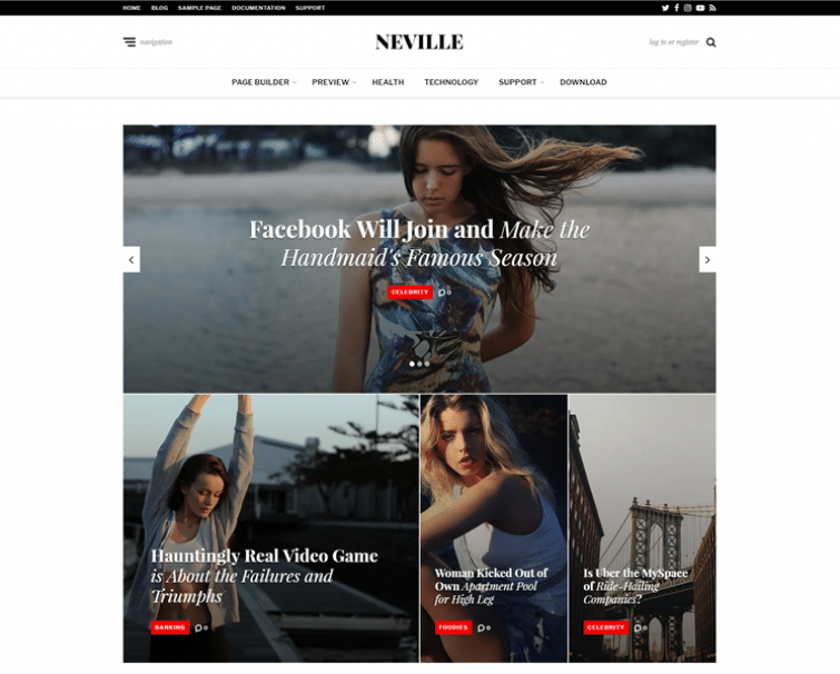 Neville Free News Magazine Blog Wp Theme