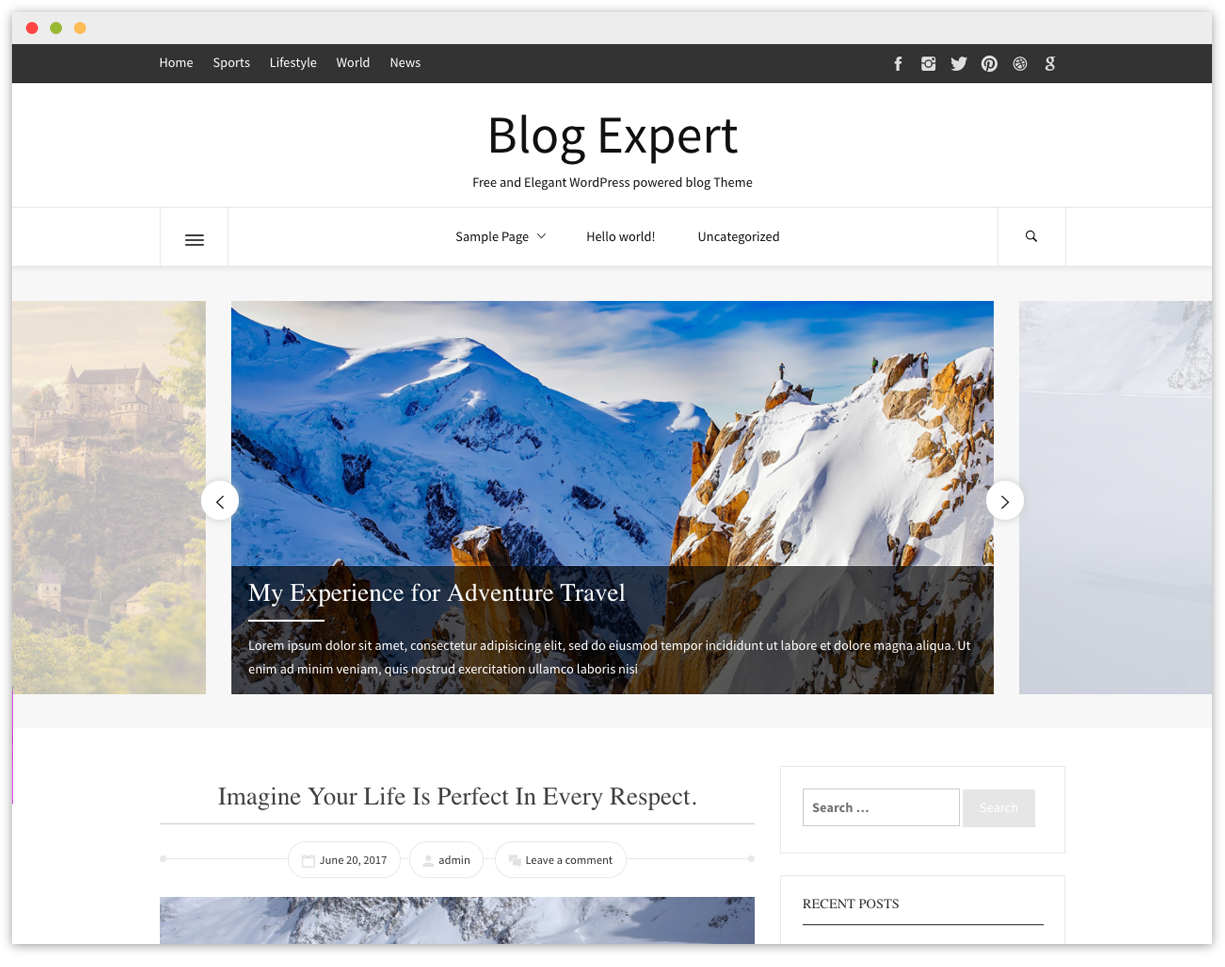 Blog Expert Free Wp Blogging Theme