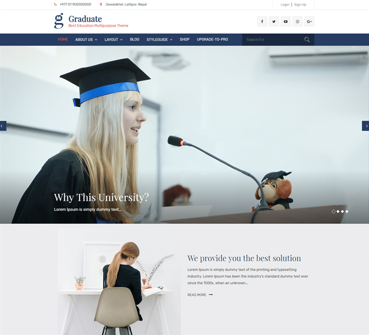 Graduate Professional Free Educational Wp Theme