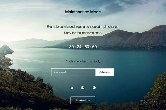 WP Maintenance Mode Plugin Example