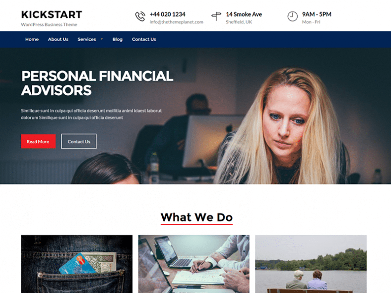 Kickstart Business - Free business Wordpress theme - Geethemes