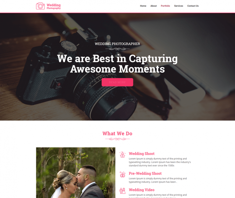 Wedding Photography Free Wp Theme