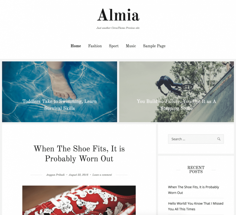Almia free wp theme
