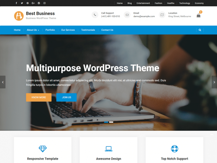 Best Business - Free Responsive Wordpress business theme - Geethemes