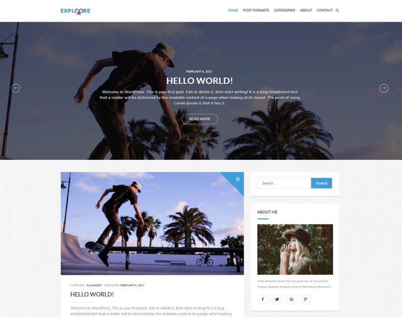 Exploore Free Wp Blogging Theme