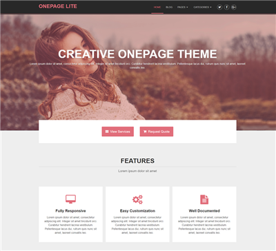 Onepage Wordpress theme screenshot