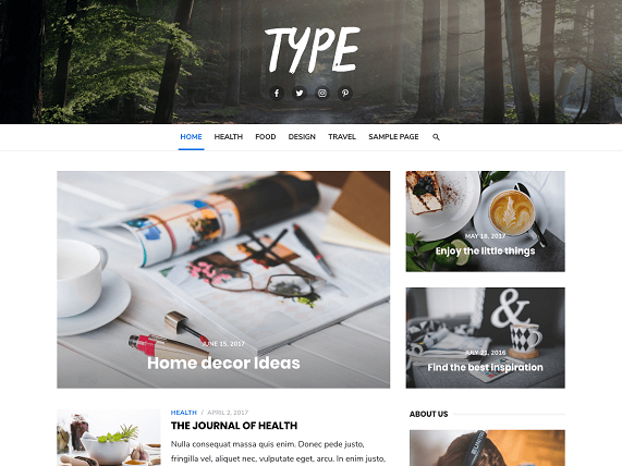 Type Wordpress theme screenshot