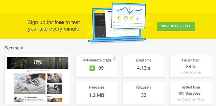 Type Wp Theme Speed Test