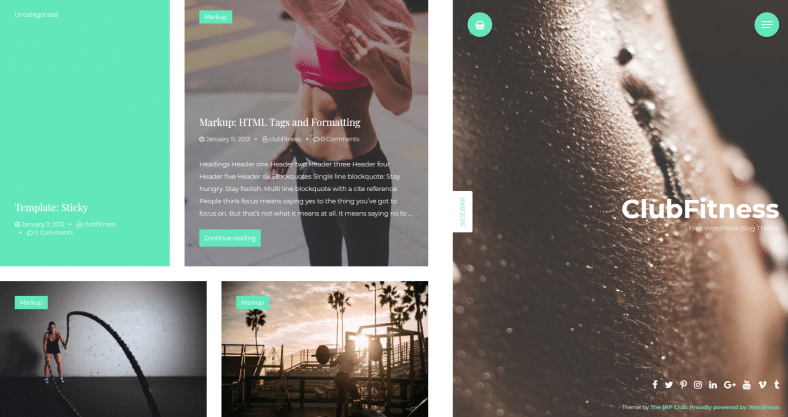 Free Fitness Blog Wp Theme