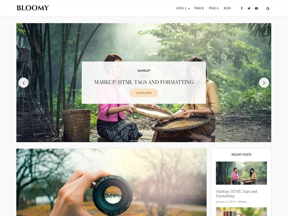 Bloomy – Free Responsive WordPress blog theme