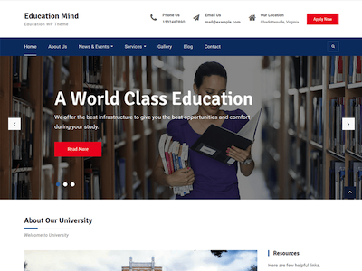 EducationMind Wordpress theme screenshot