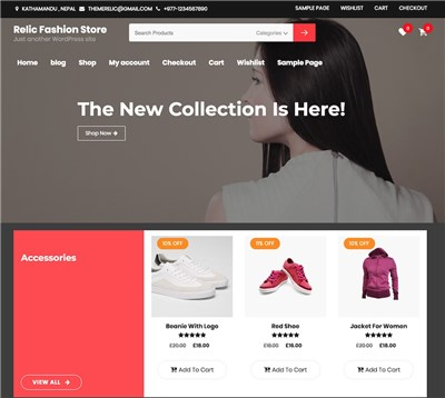 RelicFashionStore Wordpress theme screenshot