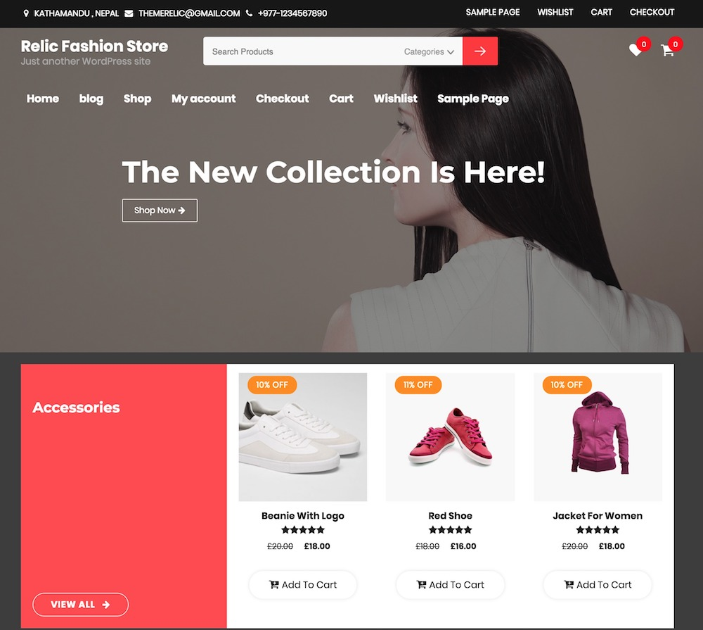 Relic Fashion Store – Free Woocommerce WordPress theme