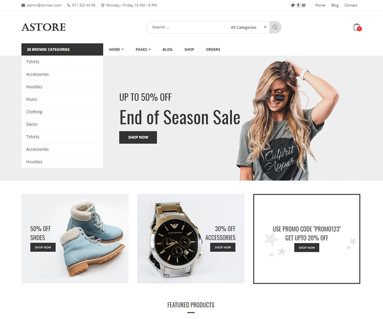 Astore – Free Woocommerce WordPress theme