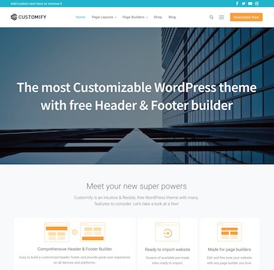 Customify Wordpress theme screenshot
