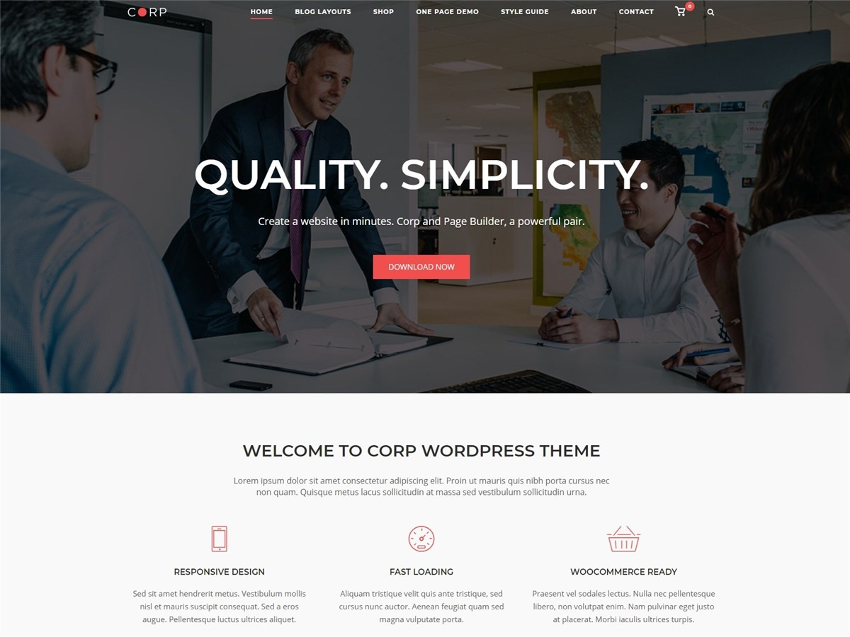 Corp – Free business WordPress theme