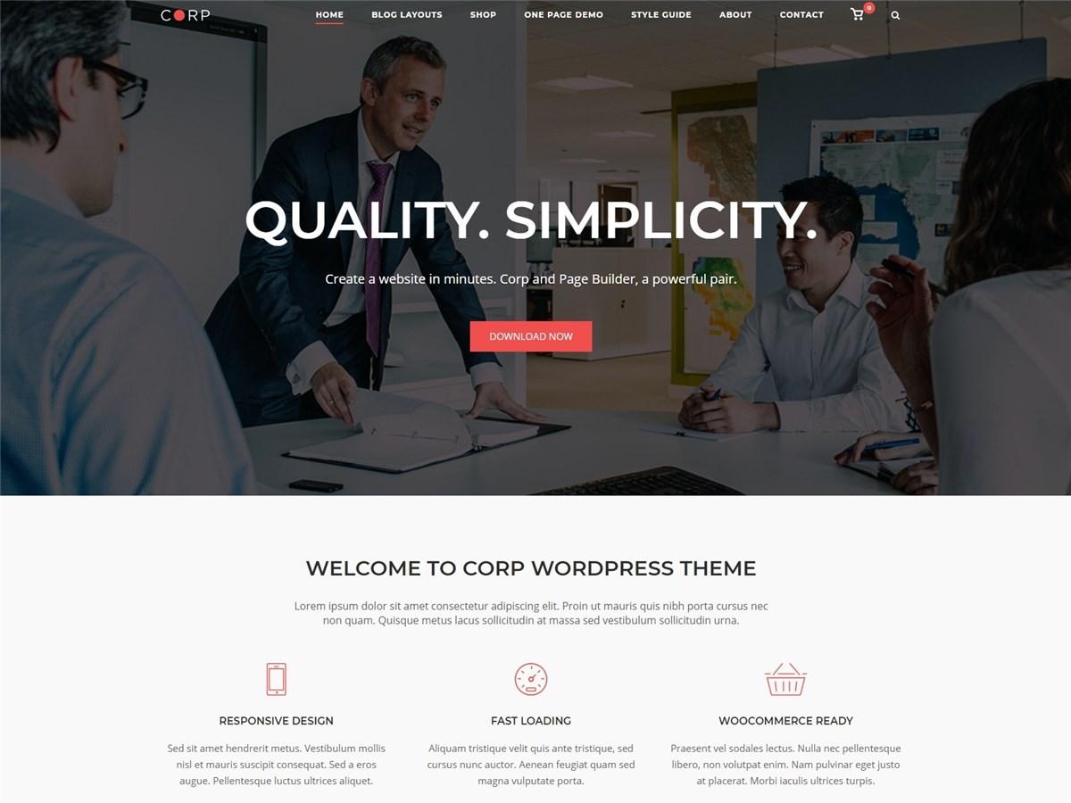 Corp – Free business WordPress theme