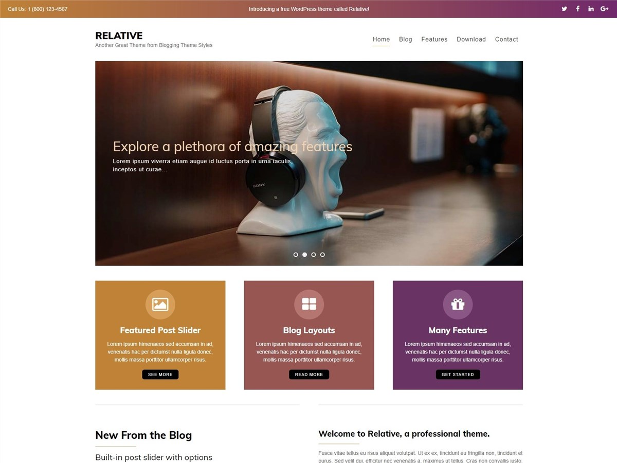 Relative – Free creative blog WordPress theme