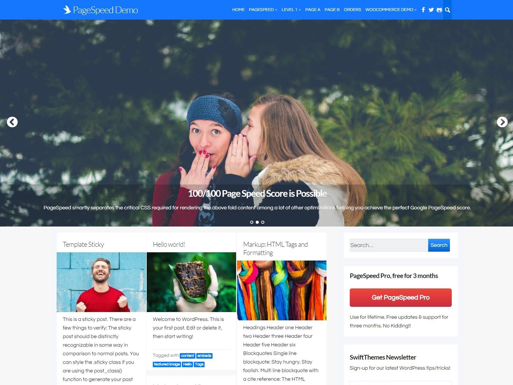 PageSpeed – Free Fast loading WordPress theme