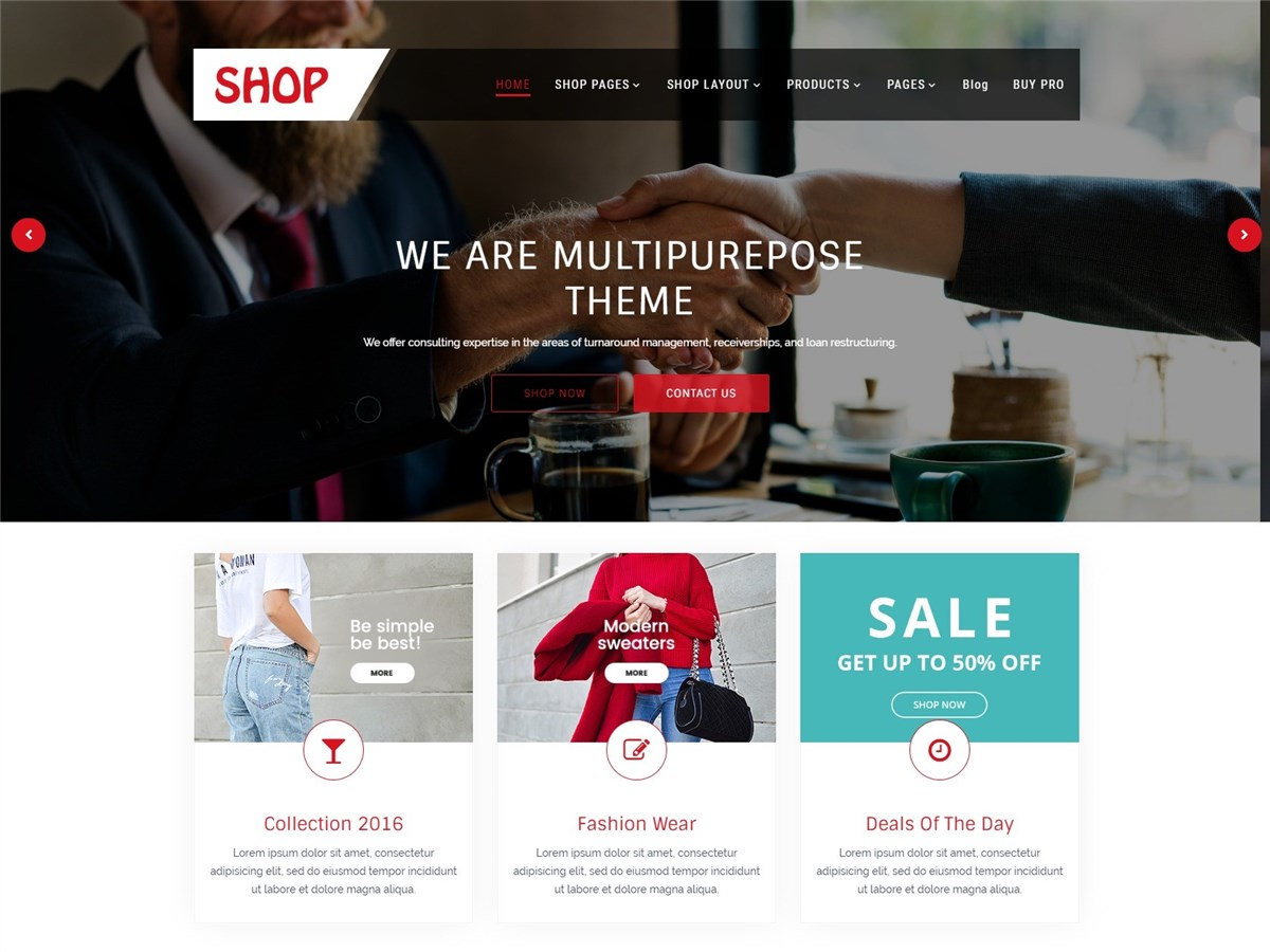Multipurpose Shop – Free multi-purpose WordPress theme
