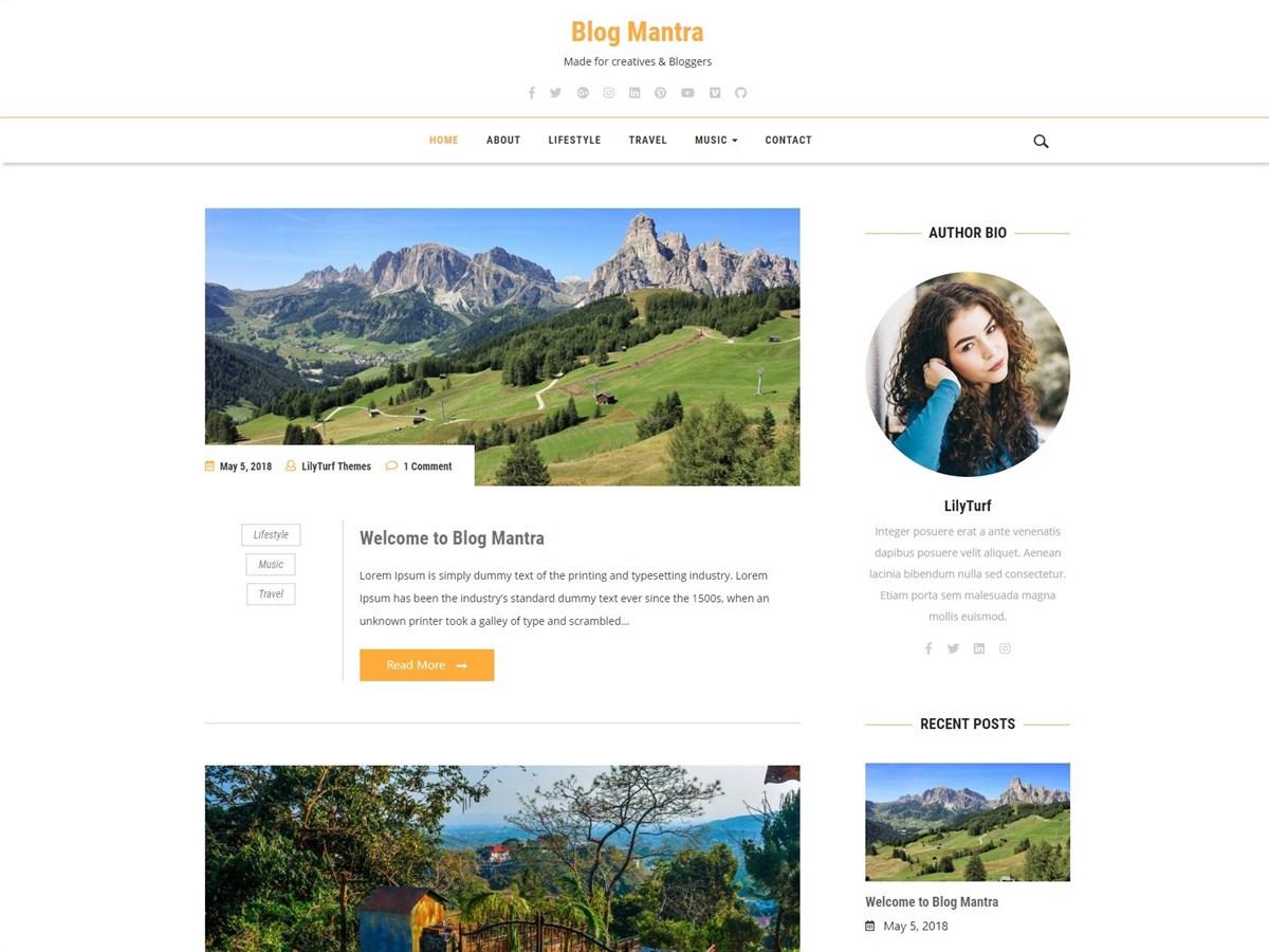 Blog Mantra – Free WordPress blogging theme
