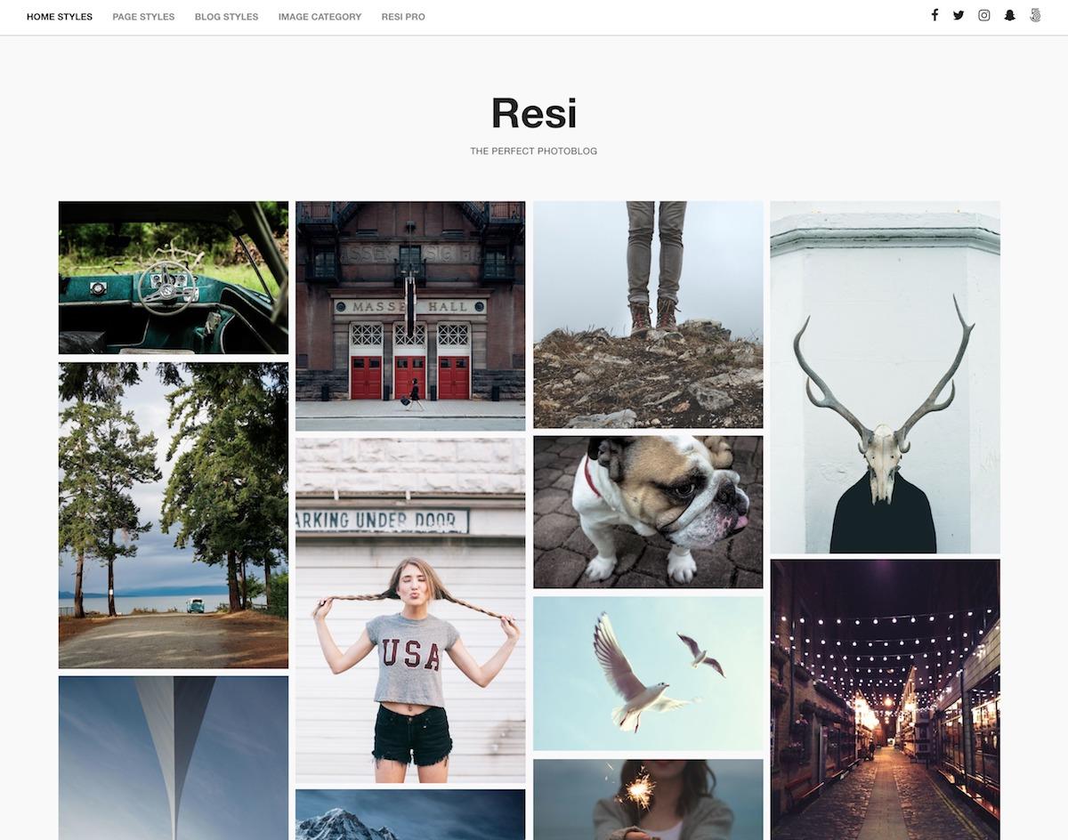 Resi - Free clean gallery Wordpress theme - Geethemes