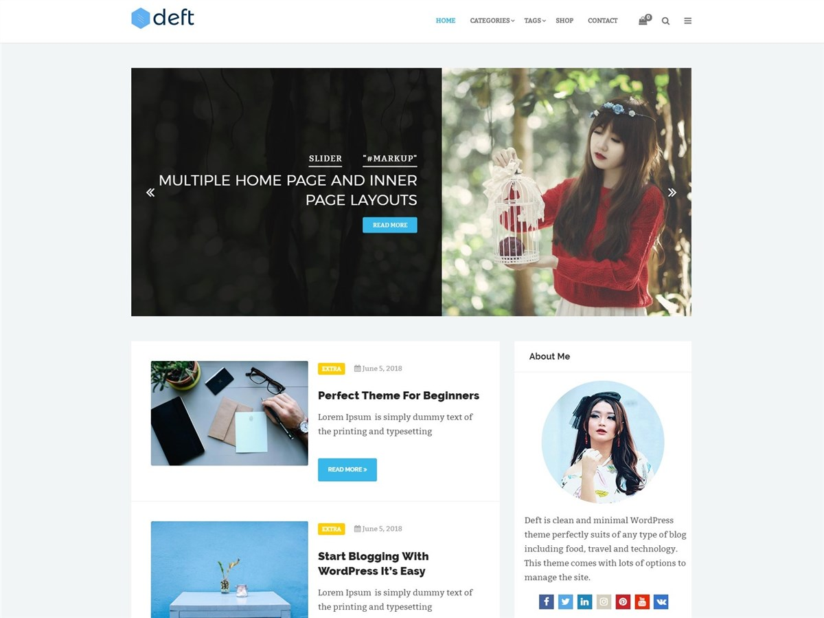 Deft – Free minimalist WordPress blogging theme