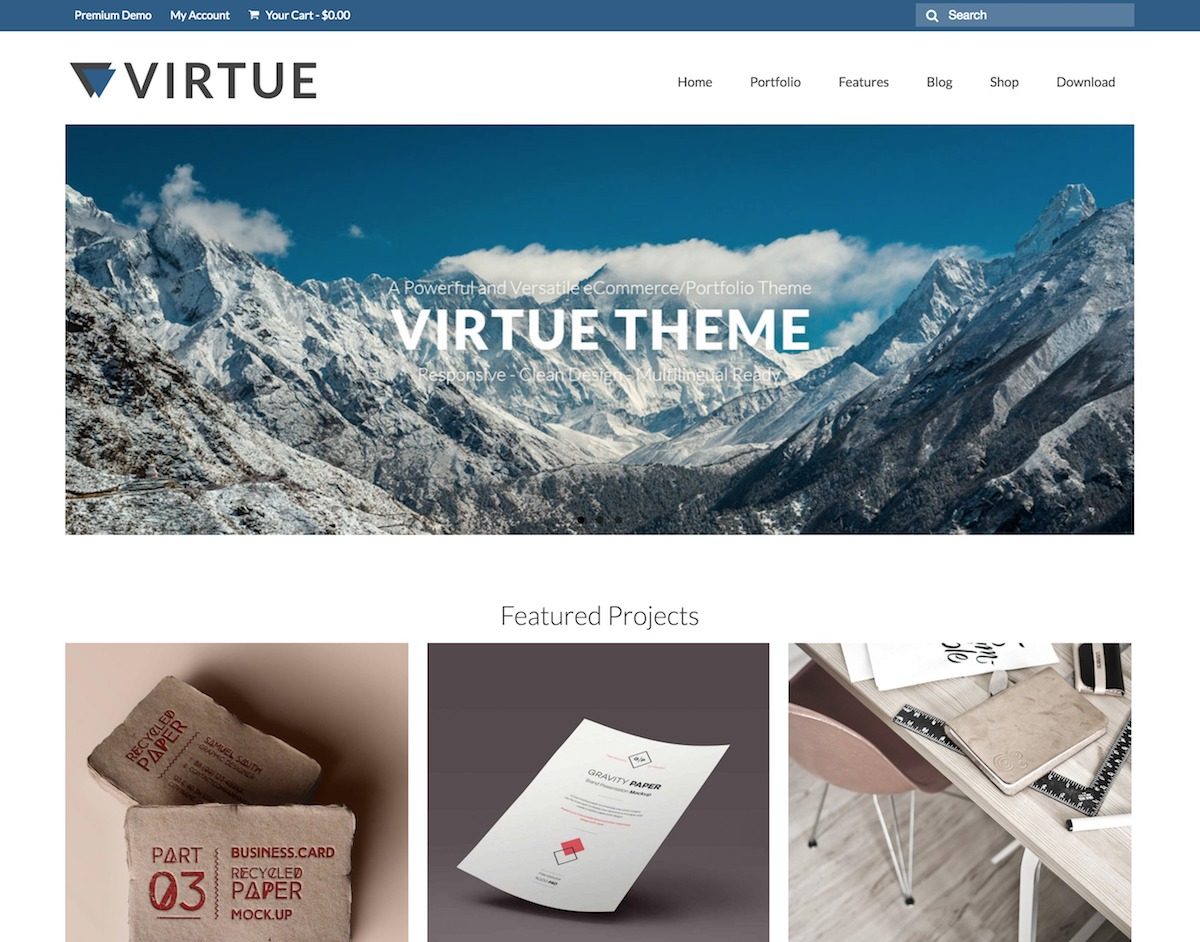 Virtue – Free multi-purpose WordPress theme