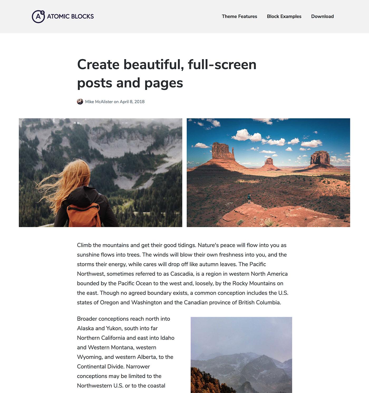 Atomic Blocks – Free personal WordPress theme