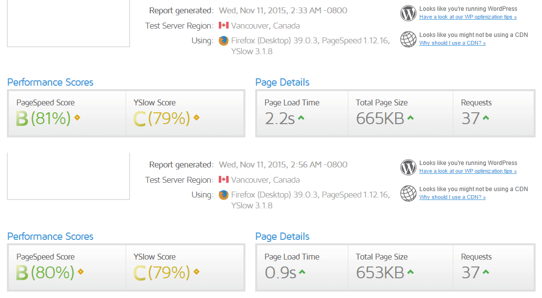 WP Rocket Review GTmetrix Before and After