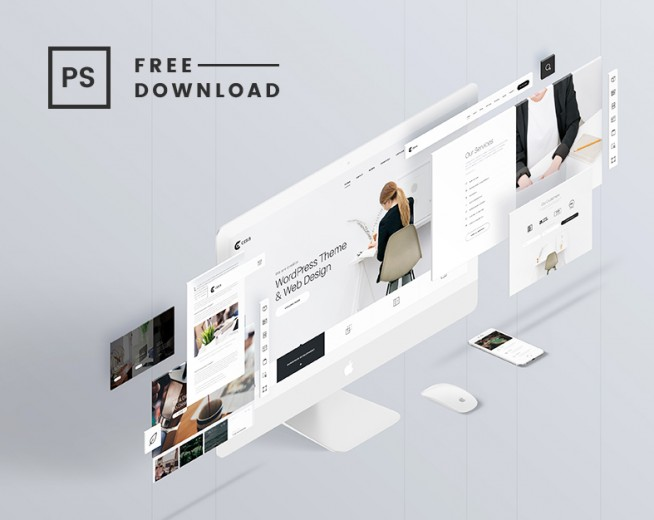 The Screens – Free Perspective PSD Mockup Template