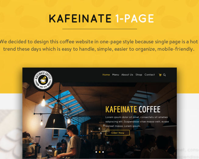KAFEINATE – Free Coffeeshop Logo, One Page, UI Designs PSD