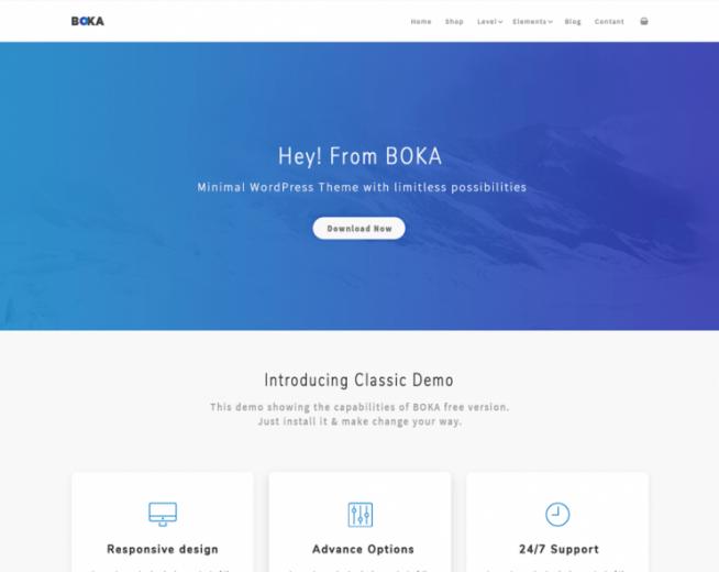 Boka – Free Minimal Multipurpose WordPress business Theme